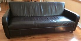 Brown leather 3 seater sofa in good condition £75