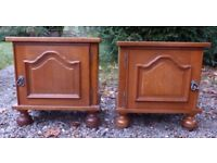 Lovely Matching Pair Vintage French Heavy Oak Bedside Cabinets with Shelf