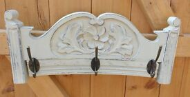 Handmade recycled chair back. Coat and hat rack. Rustic shabby chic