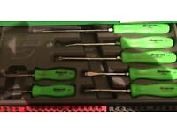 Snap on green screwdrivers in case