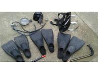 DIVING EQUIPMENT FLIPPERS SIZES 9.10.&12 MASK AIR PIPES AND BOTTLE HARNESS AND GAGUES.