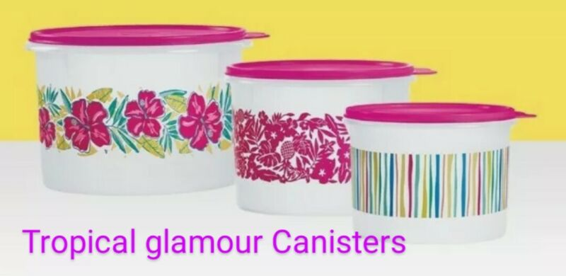 Tupperware Tropical Glamour 3 Piece Canister Set Hibiscus 🌺