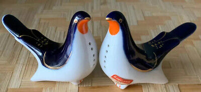 Beautiful VINTAGE Lomonosov Porcelain Cobalt Blue Pigeon/Bird Salt/Pepper, USSR