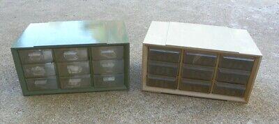 2 Vintage Akro Mils Storage Cabinets Box 9 Drawer Nut Bolt Small Parts Organizer