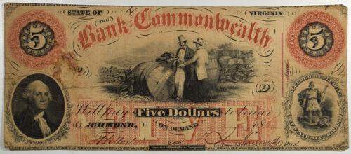 JULY 1861 $5 BANK OF THE COMMONWEALTH RICHMOND VA - FINE/VERY FINE