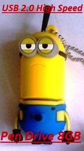 Chiavetta-USB-pendrive-Cattivissimo-Me-Minions-Kevin-8GB-USB-2-0-Nuova-gialla