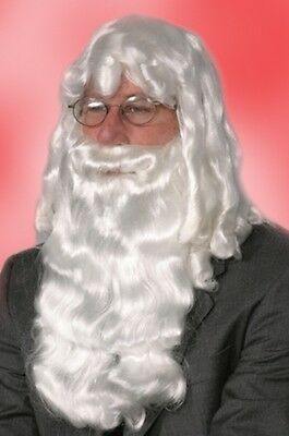 Santa Claus Wig And Beard Set (DELUXE WHITE SANTA CLAUS WIG AND BEARD SET CHRISTMAS COSTUME ADULT MENS MALE)