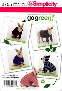 Simplicity Pattern 2755 Dog clothes Tops Sweater Hoodie Shirt XS-M go green OOP