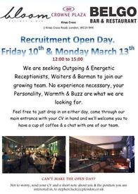 Recruitment Open Day - Receptionist, Waiting Staff, Barman