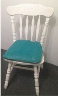 Shabby Chic White Dining Chairs with Aqua Linen Seat Cushions Maroubra Eastern Suburbs Preview