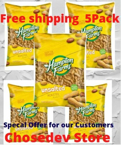 Hampton Farms Unsalted In-Shell Roasted Peanuts Non-GMO 5lb 5 pack Free Shipping