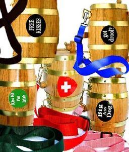 Saint St Bernard Keg Wood Barrel Nylon Dog Collar Strap Free Decal Brandy WORKS