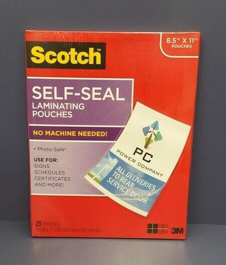 3M Scotch Self-Sealing Laminating Pouches 25 Sheets Gloss Finish Letter Size