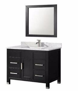 "36"" Black Bathroom Vanity- Complete Set"