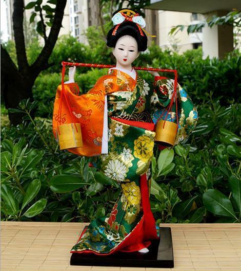 30cm Japanese Brocade Kimono Kabuki Doll Geisha Figure Figurine Statue Decor 09#