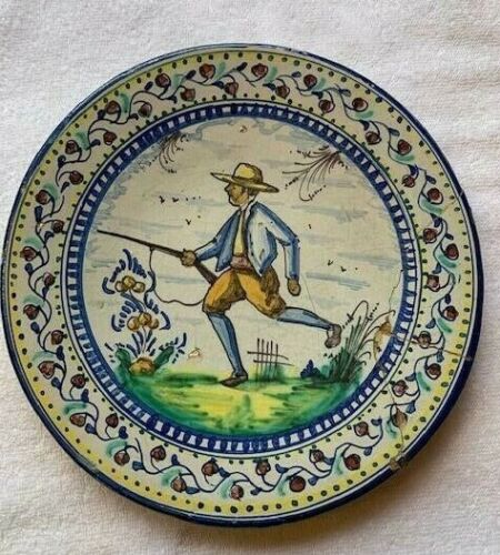 Beautiful Antique Polychrome Majolica Hand Painted 19th Century Plate Signed NCP