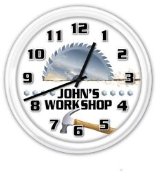 Workshop PERSONALIZED Wall Clock Man Cave Garage Wood Shop Tools Saw GIFT
