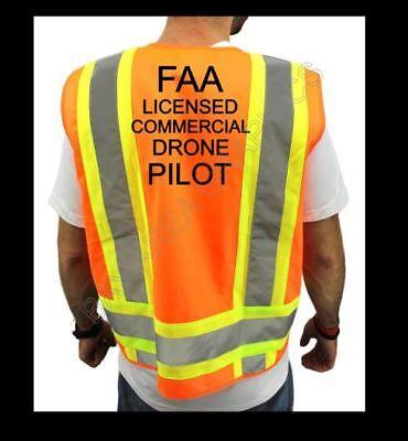 FAA DRONE PILOT HIGH VISIBILITY SAFETY ORANGE VEST BLACK DESIGN  F&B S-M-L-XL