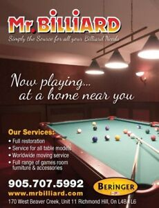 Call Mr Billiard for Billiard Tables Sales, Service Accessories