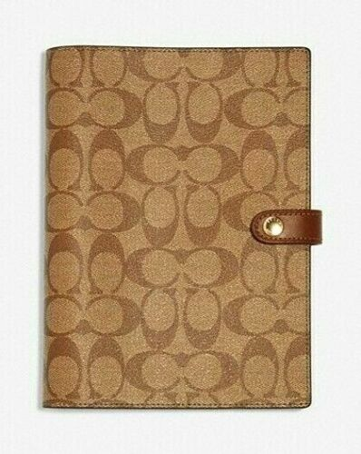 COACH Notebook Signature Canvas w/ Leather Details Khaki Lined Pages Nwt