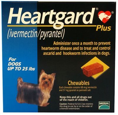 Heart gard Plus 6 Chewable Tablets for Dogs, up to 25 lbs exp - Heartgard Chewables