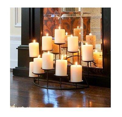 Candelabra 10 Candle Holder Metal Dark Planking Fireplace Hearth Mantel Residency Decor
