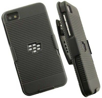 BLACK RIBBED HARD CASE COVER + BELT CLIP HOLSTER STAND FOR BLACKBERRY Z10 LONDON Hard Case Cover Blackberry