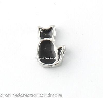 Halloween Floating Charm For Glass Memory Locket Necklace (Black Kitten Halloween)