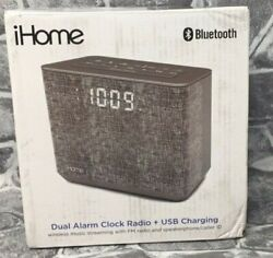 iHome Bluetooth Dual Alarm FM Clock Radio USB Charge and Alarm. NEW!