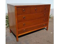 1960s Loughborough Furniture Chest of Drawers. Mahogany, Brass Detail. Vintage/Retro/Mid Century.