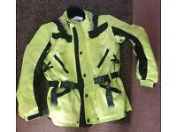 Mens hiviz Motorcycle jacket L large with padding