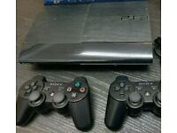 Sony PlayStation ps3 super slim 500 gb 9 games 2 controllers