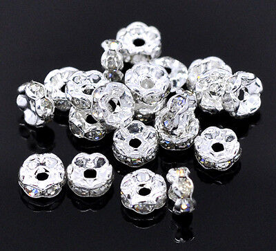 30 Clear Rhinestone Rondelle 5mm Spacer Beads Wavy Silver Plated J00509