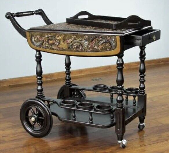 Novica Leather Rolling Bar Cart Serving Table Liquor Wine Home Pub