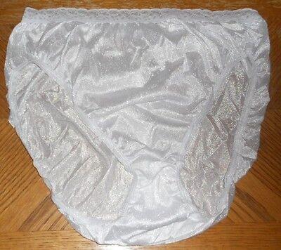 Six  6  Hanes Hi Cut Panties  Silky Nylon  Feminine Lace Sz 8  Xl  White