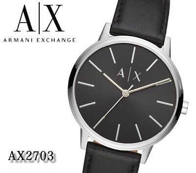 Armani Exchange Men's AX2703 Classic Black Dial Black Leather Band Quartz Watch