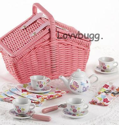 """Lovvbugg Kids Childs Sweetie Tea Set Basket for 18"""" American Girl Doll Accessory"""