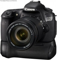 Canon 60D 60Da 60D-a DSLR Battery Grip + 2 CHARIOTS LOADER
