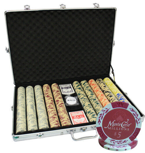 1000 14G MONTE CARLO MILLIONS CLAY POKER CHIPS SET