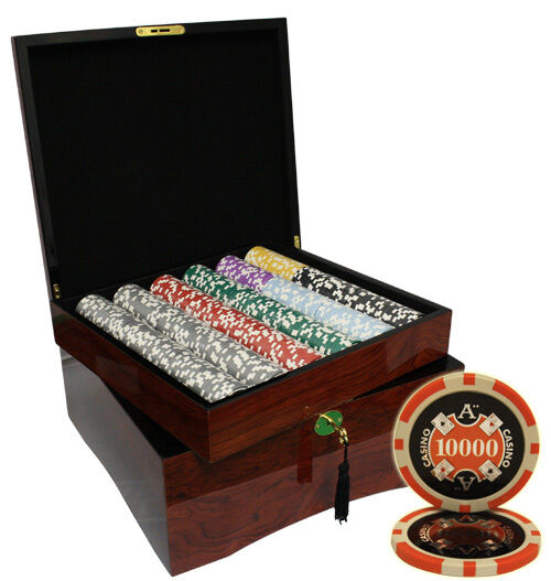 750pcs ACE CASINO POKER CHIPS SET HIGH GLOSS WOOD CASE CUSTOM BUILD