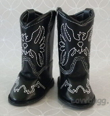 "Lovvbugg Black Cowboy Boots for 18"" American Girl or Boy or Bitty Baby Doll Shoes"