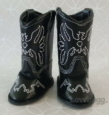 "Black Cowboy Cowgirl Western Boots for American Girl 18"" Dol"