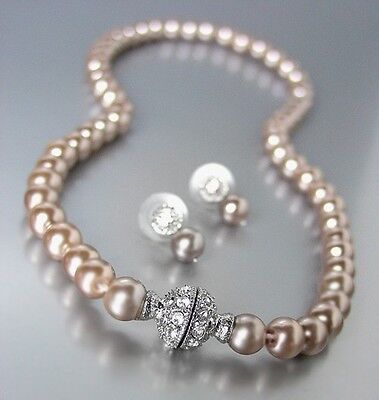 Designer Inspired Brown Pearls Magnetic Eternity Pave CZ Crystals Necklace Set