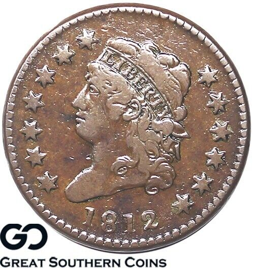 1812 Large Cent, Classic Head, Small Date, Key Date Early Copper ** Free S/H!