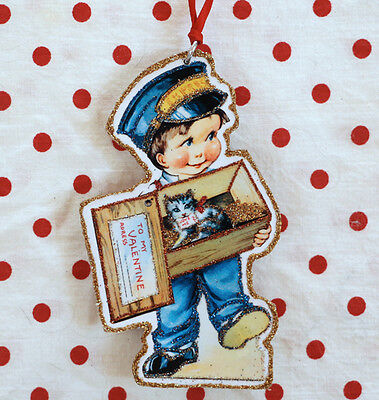 Glittered Wooden Valentine Ornament~ Express~Vintage  Card Image~Free Shipping