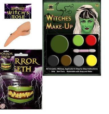 HALLOWEEN WITCH MAKEUP NOSE AND HORROR TEETH FACNY DRESS (Halloween Dresses And Makeup)