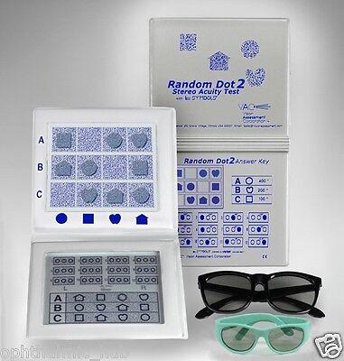 Random Dot - Stereo Random Dot 2 Acuity Test Lea Symbols & Adult Child Goggles Free Shipping