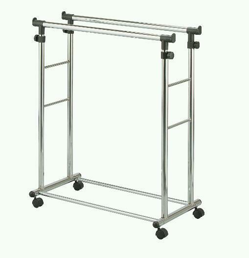 Adjustable heavy duty double clothes rail in westminster for Clothes rail on wheels ikea