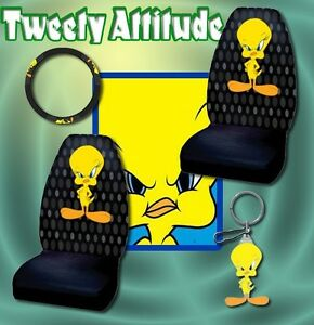 4pc tweety bird car seat covers steering wheel keychain. Black Bedroom Furniture Sets. Home Design Ideas
