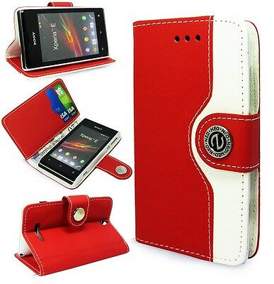 PINK Leather Flip Book Wallet Case Cover Pouch W/ Media Stand For Sony Xperia E Media Wallet Case